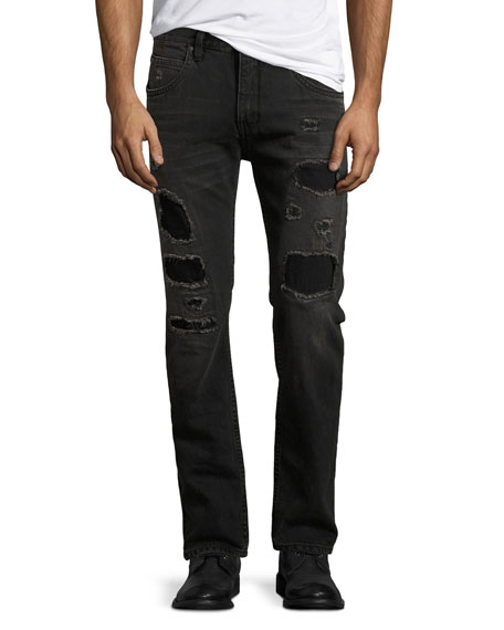 Mr. 87 Slim-Fit Destroyed Jeans, Black