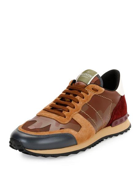 Valentino Garavani Men's Rockrunner Camo Leather Trainer Sneaker,