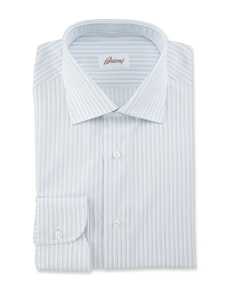 Brioni Striped Dress Shirt, White/Blue/Gray