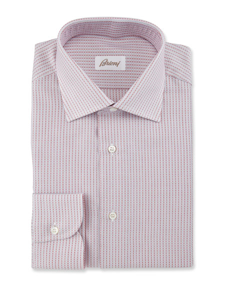 Brioni Textured-Stripe Dress Shirt, Red/White