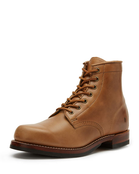 Frye John Addison Leather Lace-Up Boot, Tan