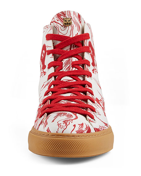 Sea Storm Print High-Top Sneaker, Red/White