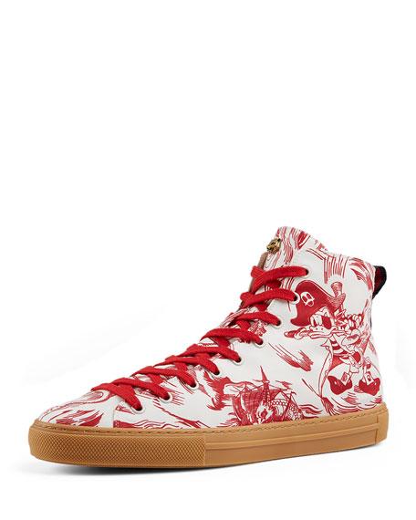 c5fad06871e Gucci Sea Storm Print High-Top Sneaker