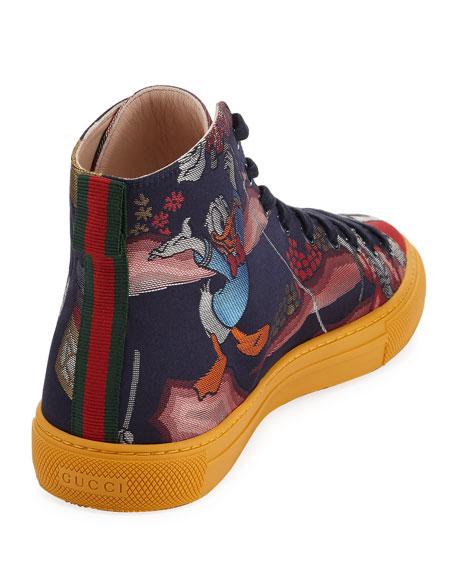 fccbde3a624b Gucci Donald Duck Men's Jacquard High-Top Sneaker, Multicolor