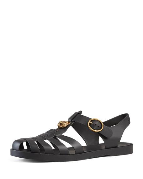 Sandale En Caoutchouc Gucci Avec Des Cristaux - Noir vKveqw