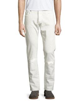 Tonal Paisley Straight-Leg Jeans, Off White