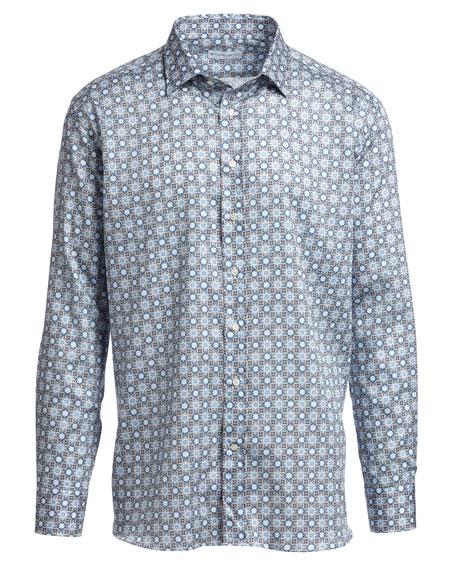 Mosaic Tile-Print Sport Shirt, Blue