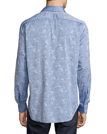 Mermaid Jacquard Sport Shirt, Light Navy Blue