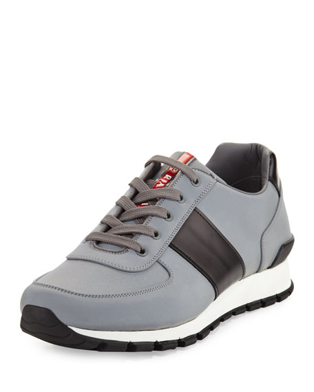 Reflective Textile & Leather Trainer Sneaker, Silver/Black