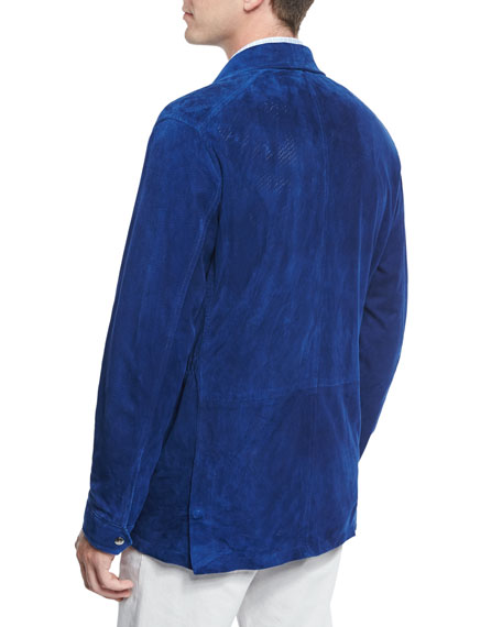 Perforated Suede Safari Jacket, Blue