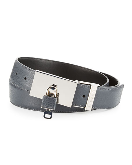 Padlock-Buckle Leather Belt, Dark Gray