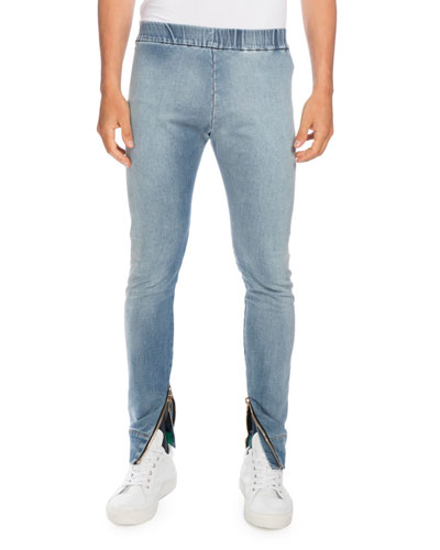 Denim Moto Jogger Pants, Light Blue