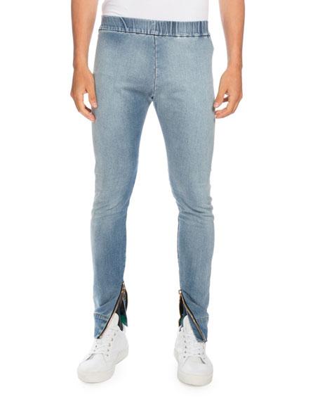 Denim Moto Jogger Pants, Light Blue