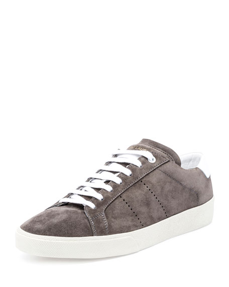 Saint Laurent SL/06 Suede Low-Top Sneaker, Gray