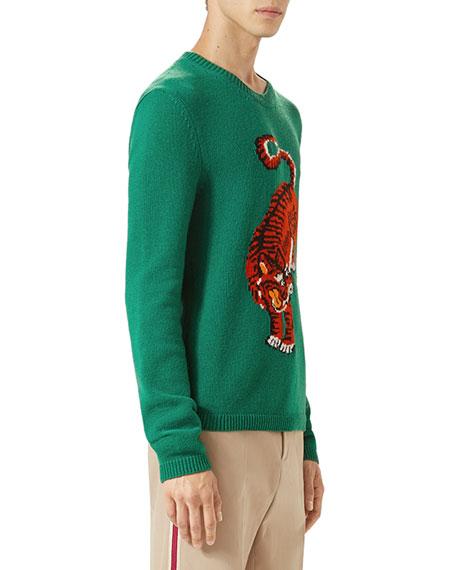 Crewneck Sweater w/Tiger Intarsia, Green