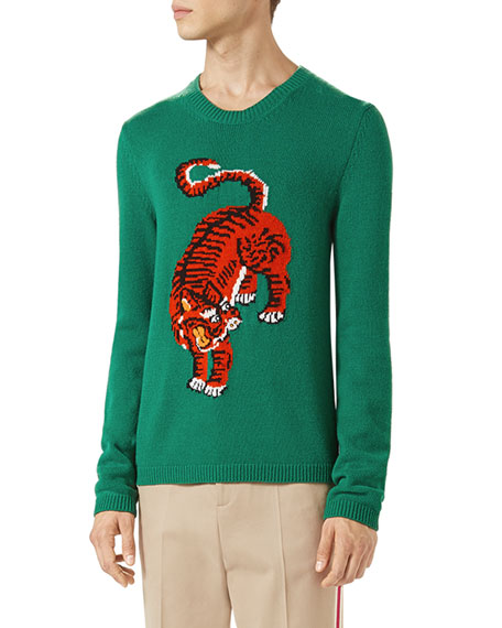 780794e7b Gucci Crewneck Sweater w/Tiger Intarsia, Green
