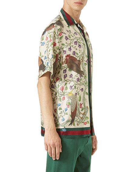 6d504321f Gucci Birds of Prey Silk Twill Bowling Shirt, Ivory