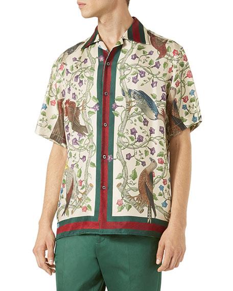 121c1254 Gucci Birds of Prey Silk Twill Bowling Shirt, Ivory