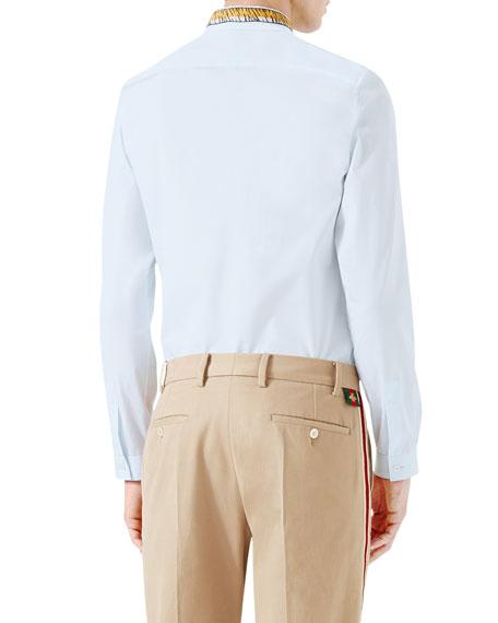 cb7f3d51 Gucci Duke Tiger-Embroidered Shirt, Light Blue