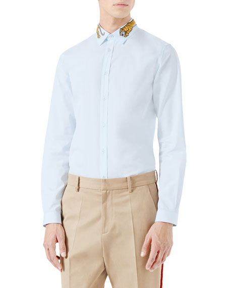 Duke Tiger-Embroidered Shirt, Light Blue