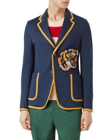 fe0e3416e Gucci Tiger Patch Jacket, Navy