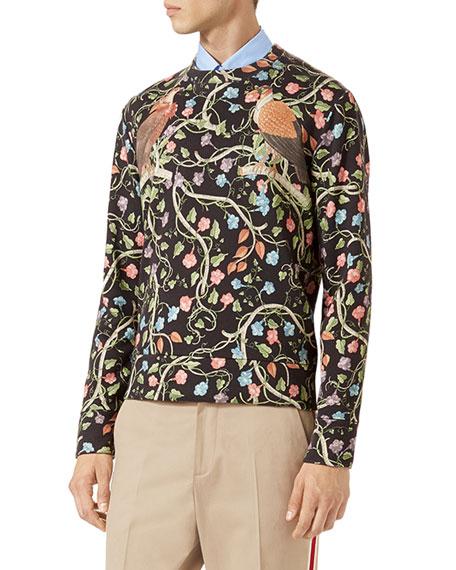 Birds of Prey Floral Sweatshirt, Black