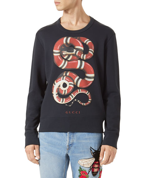 2903b9aa499 Gucci Felted Cotton Snake-Print Sweatshirt