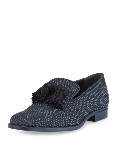 Jimmy Choo Foxley Python-Textured Denim Tassel Loafer, Black