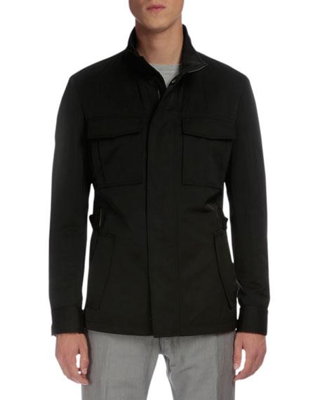 Berluti Lightweight Buckled-Side Jacket, Black