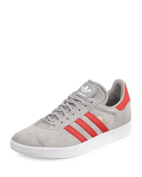 Adidas Men's Gazelle Original Suede Sneaker, Gray/Red - Bergdorf ...