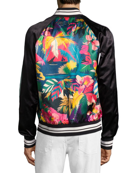Tropical-Print Satin Souvenir Bomber Jacket, Black/Multicolor