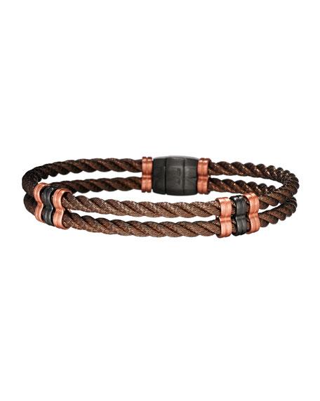 Men's Bronze 925 Sterling Silver Double-Cable Bracelet