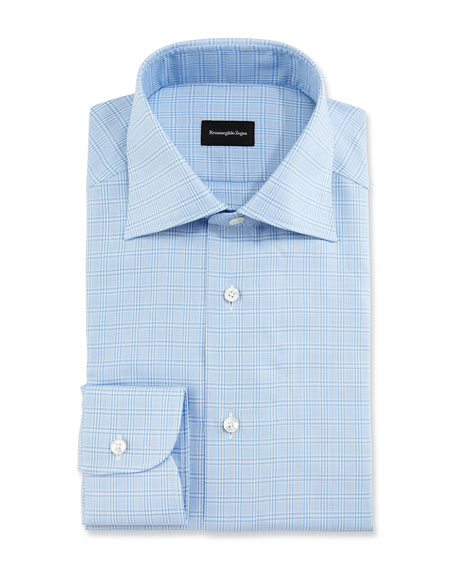 Textured Glen Plaid Dress Shirt, Blue/White