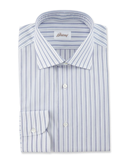 Brioni Bold-Stripe Dress Shirt, Navy/White