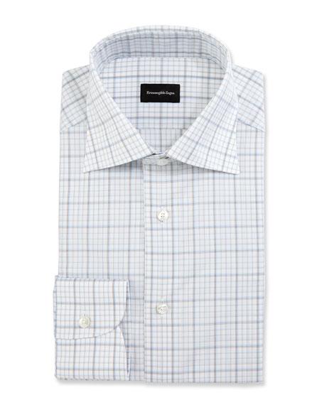 Large-Check Dress Shirt, White/Blue/Brown