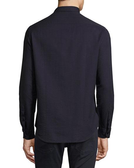 Textured Seersucker Sport Shirt, Navy Blue