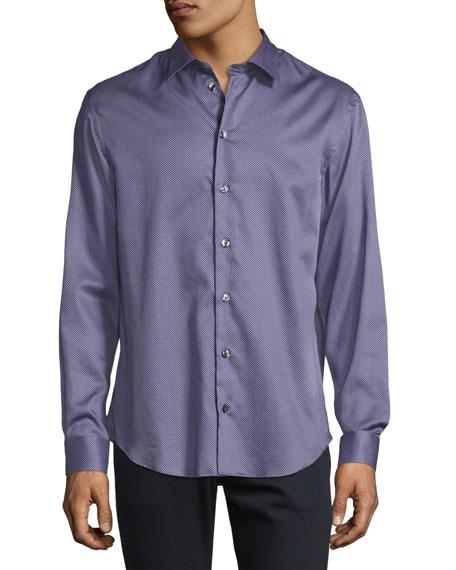Micro-Box Printed Sport Shirt, Lavender