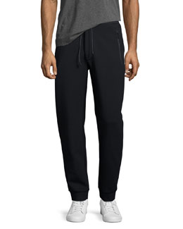 Drawstring Track Pants, Navy Blue