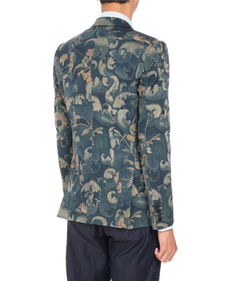 Berger Floral-Print Two-Button Sport Jacket, Dark Green
