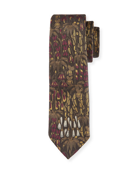 Dries Van Noten Floral Silk Tie, Purple/Multi