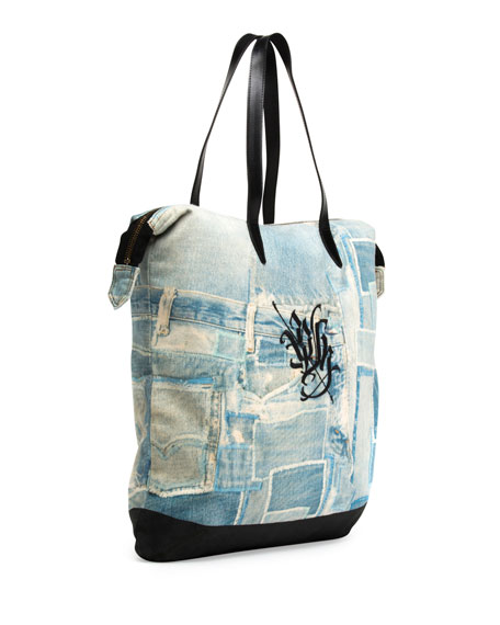 Men's Denim-Print Shopper Tote Bag, Light Blue
