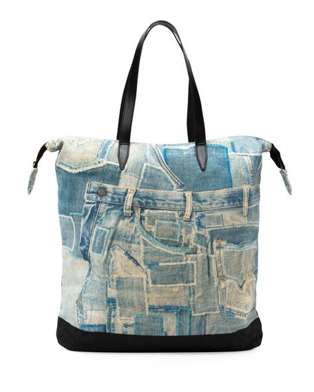 Men's Denim-Print Shopper Tote Bag, Light Blue