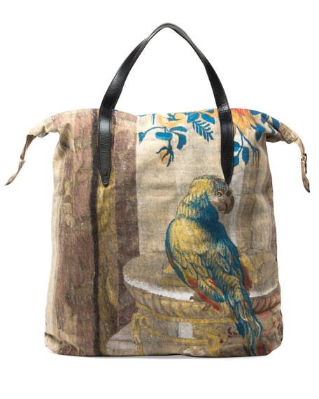 dbf56b267bd0 Dries Van Noten Men's Parrot-Print Shopper Tote Bag, Sand