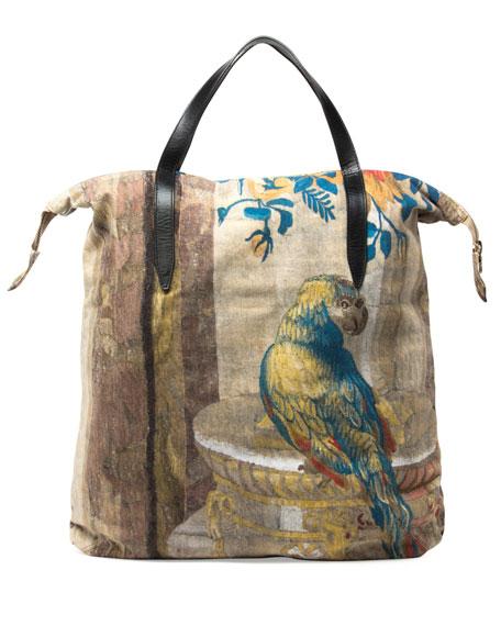 Men's Parrot-Print Shopper Tote Bag, Sand