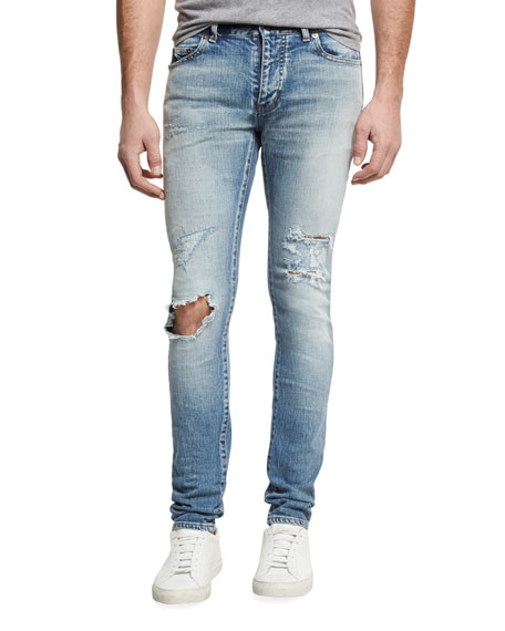 56d4ee4cfc Dirty Distressed Skinny Jeans with Blowout Knee Blue