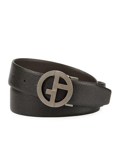 Logo-Buckle Vitello Belt, Black