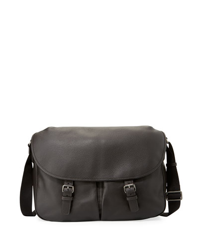 Men's Vitello Leather Messenger Bag