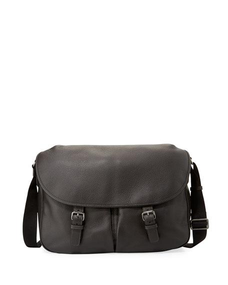 Men's Vitello Leather Messenger Bag