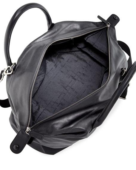Calfskin Leather Weekender Bag, Black