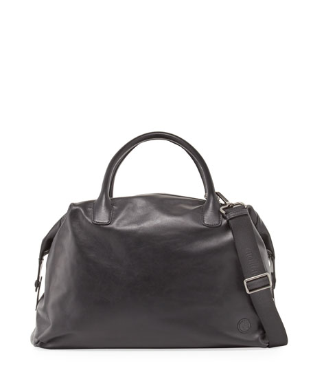 Calfskin Leather Weekender Bag, Black